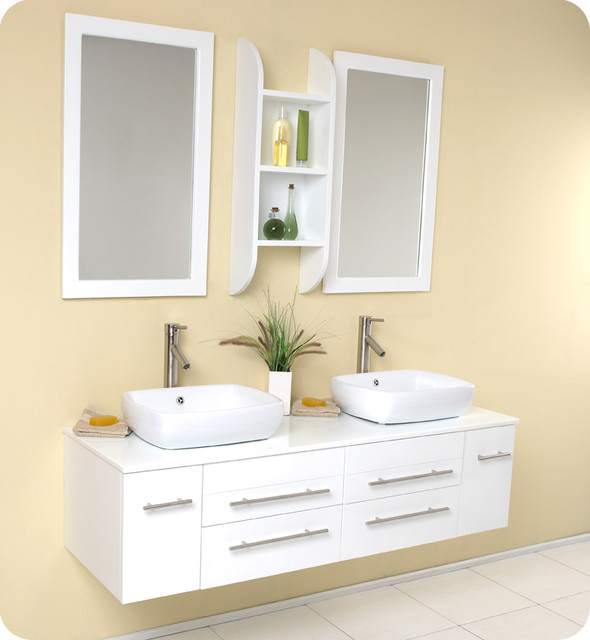 Fresca Bellezza White Modern Double Vessel Sink Vanity - Contemporary - Bathroom Vanities And ...