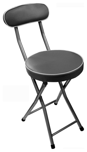 Chaise pliable pop m tal assise mousse noir moderne for Chaise et tabouret