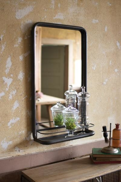 Metal Frame Pharmacy Mirror With Shelf Industrial By At West End