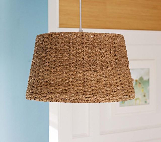 Pottery Barn Hanging Lamp Shades: Woven Pendant Drum Light