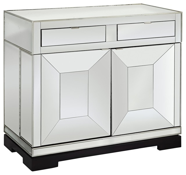 Taney Mirrored 2-Door Rolling Bar Cabinet - Contemporary - Storage Cabinets