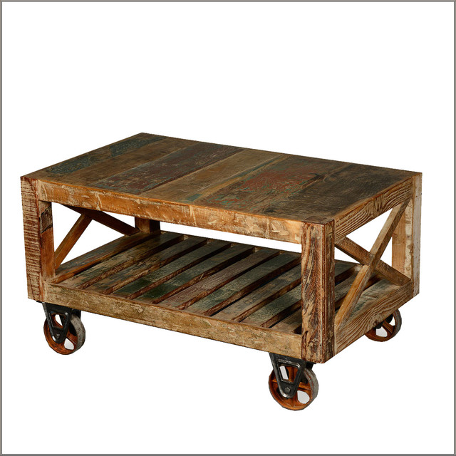 Industrial Rustic Factory Cart Coffee Table: Industrial Reclaimed Wood & Iron Rolling Double X Coffee