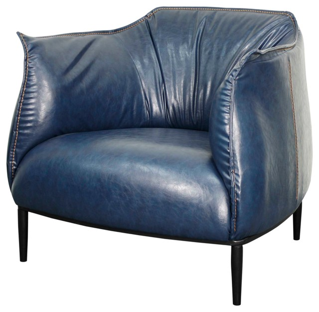 Chilton Pu Accent Chair Distressed Blue Armchairs And