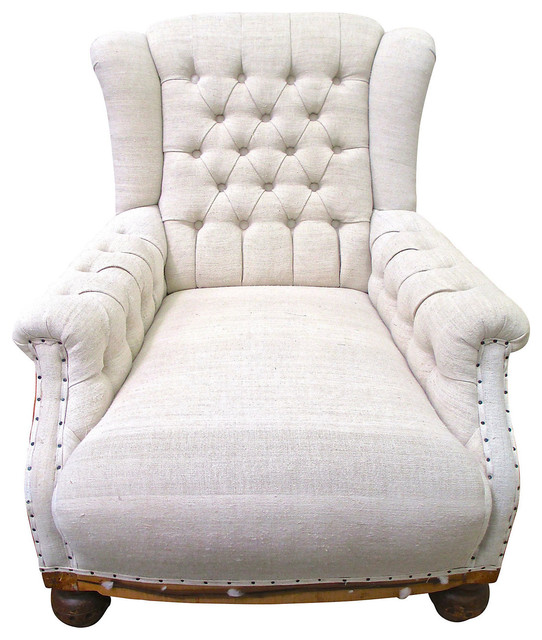 Deconstructed French Linen Club Chair Contemporary Armchairs And Accent C