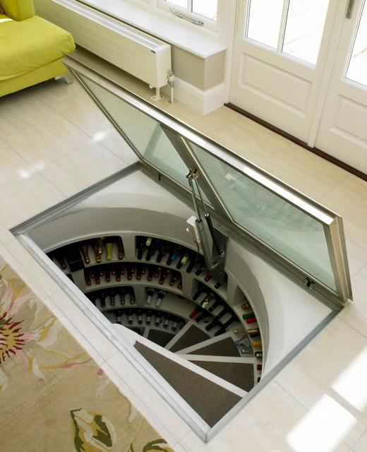 Spiral cellar with glass trap door - Wine cellar trap door ...