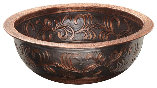 16 Naida Round Copper Drop In Sink Traditional Bathroom Sinks