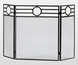 Fire screen 3 panel luna in black contemporary fireplace screens by - Choosing the right contemporary fireplace screens ...