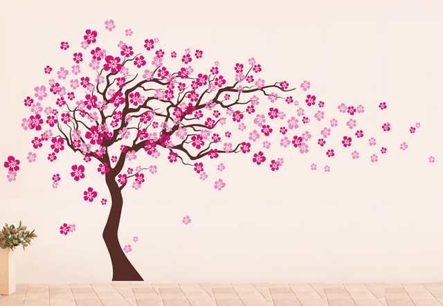 pop decors cherry blossom tree wall decal hot pinklight pink