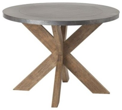 Metal Natural Wood Base Round Dining Table Eclectic Dining Tables