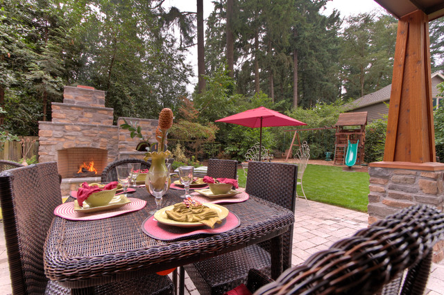 Outdoor fireplace with pizza oven traditional portland for Paradise restored landscaping exterior design