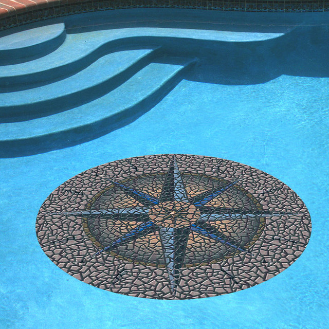 Compass pool mat 59 dia traditional garden statues for Garden pool mats