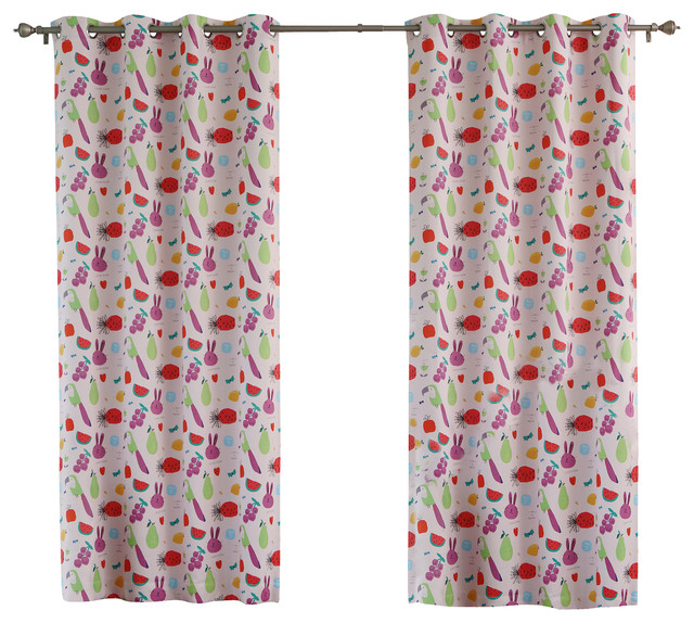 "... Darkening Grommet Top Curtain - 1 Pair, Pink, 84"" L tropical-curtains"