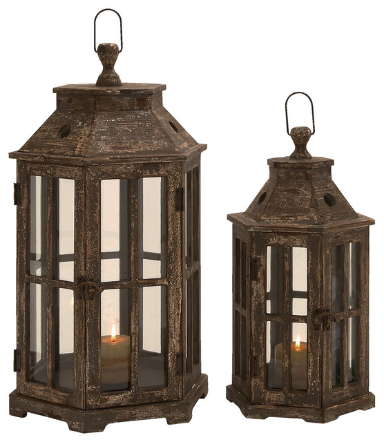 Urban Designs Weathered Wood 2-Piece Hexagonal Lantern Candle Holder ...