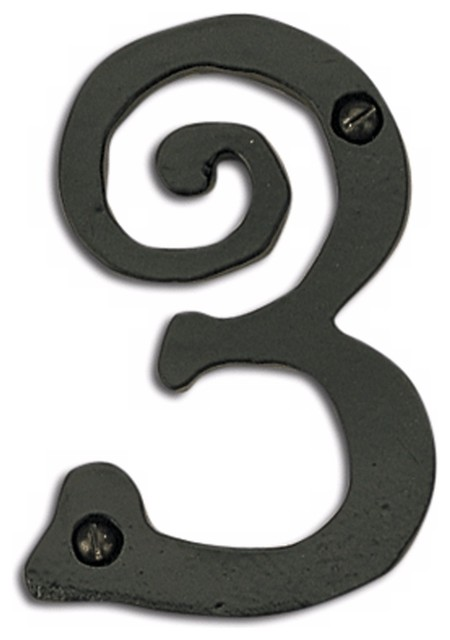 Large scroll black finish house number 3 contemporary for Big modern house numbers