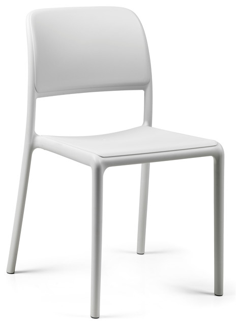 Riva Bistro Side Chairs Set of 4 White Modern Outdoor Dining Chairs b