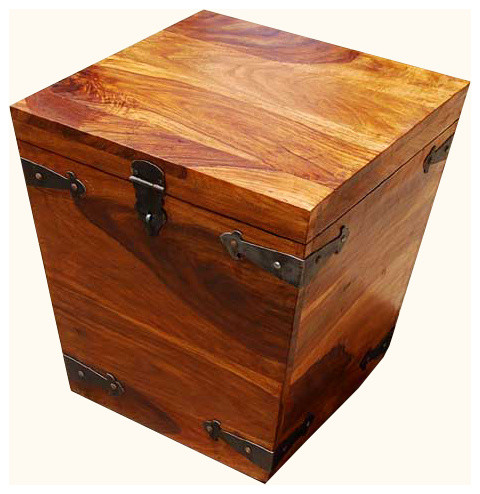 Solid Wood Square Storage Trunk Coffee Side Table Transitional Decorative Suitcases Trunks