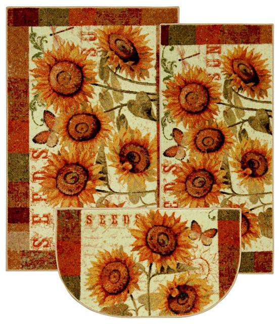 Sunshine Seeds Three-piece Kitchen Rug Set
