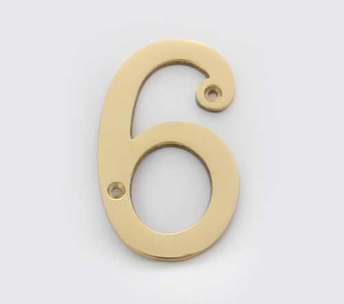 Solid Brass 4 Inch 100mm Door Number 6 2276 Cool