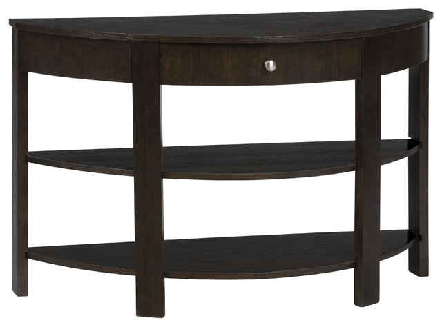 Jofran demilune sofa table with one drawer and 2 shelves for Demilune console table with drawers