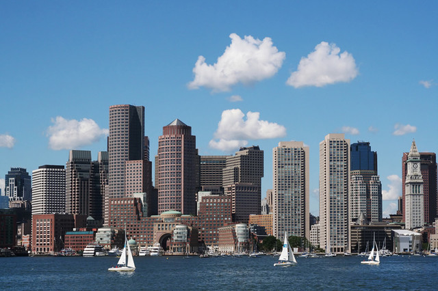 Boston skyline wall mural contemporary wall stickers for Boston wall mural