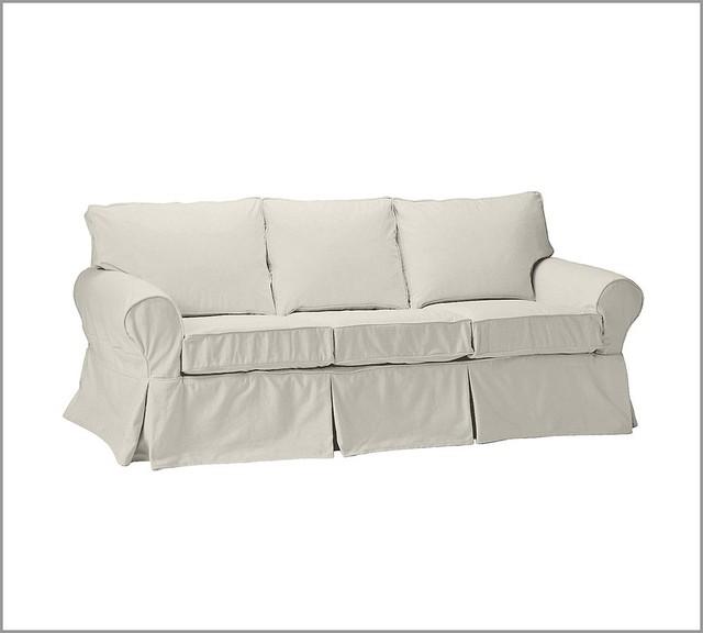 PB Basic Sofa Brushed Canvas Pottery Barn