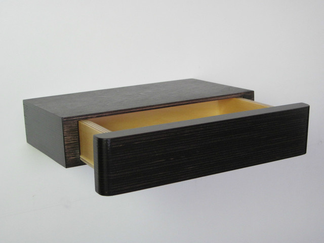 Pacco floating drawer dark walnut modern display and wall shelves