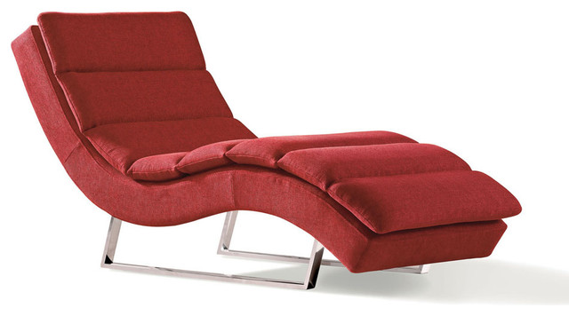 Sphinx Woven Fabric Chaise Red Contemporary Indoor Chaise Lounge Chairs