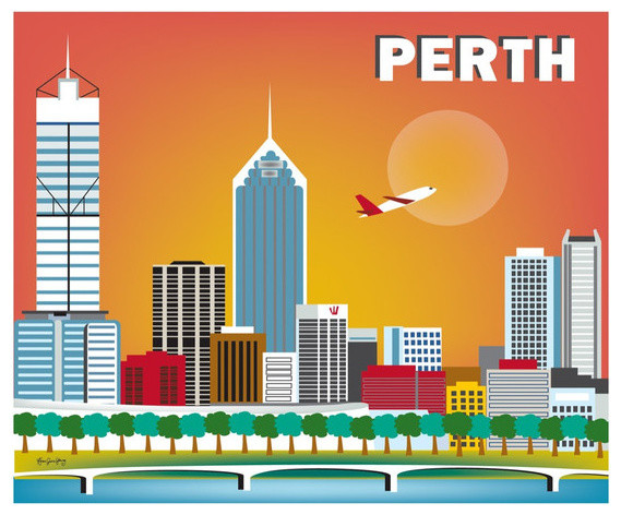 Perth Australia Horizontal Skyline Print Modern Home Decor By Loose Petals Llc