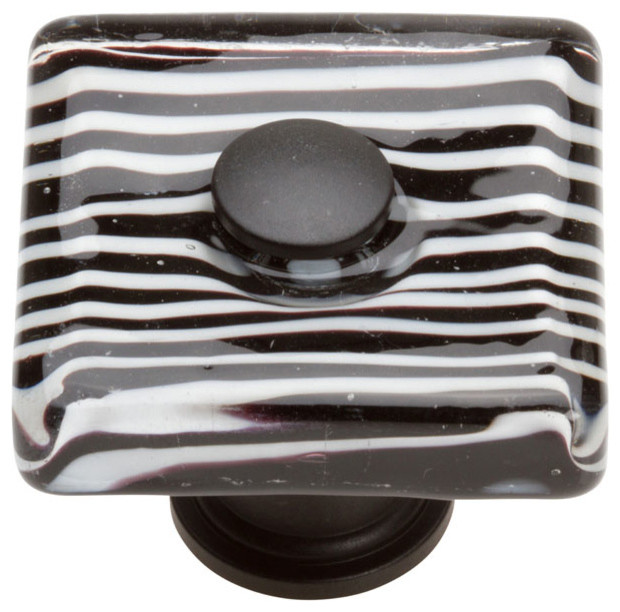 ZEBRA SQUARE GLASS KNOB - Transitional - Cabinet And Drawer Knobs - by Knobbery Dot Com LLC