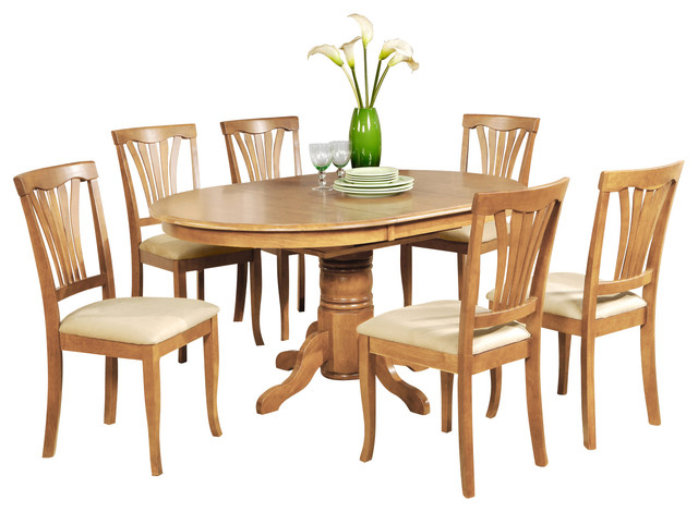 5 piece dining table set oval dining table with leaf and 4 for Kitchen set new leaf