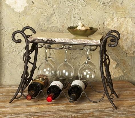 Wrought Iron Wine and Glasses Rack - Mediterranean - Wine Racks ...