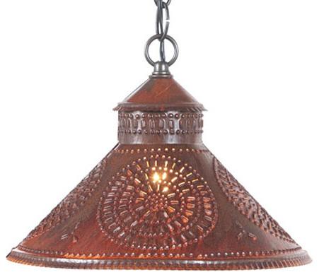 Stockbridge Shade Light With Chisel Design Rustic Tin