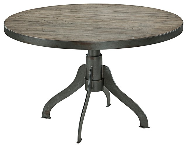 Walter Dry Aged Wood Round Dining Table Industrial Dining Tables