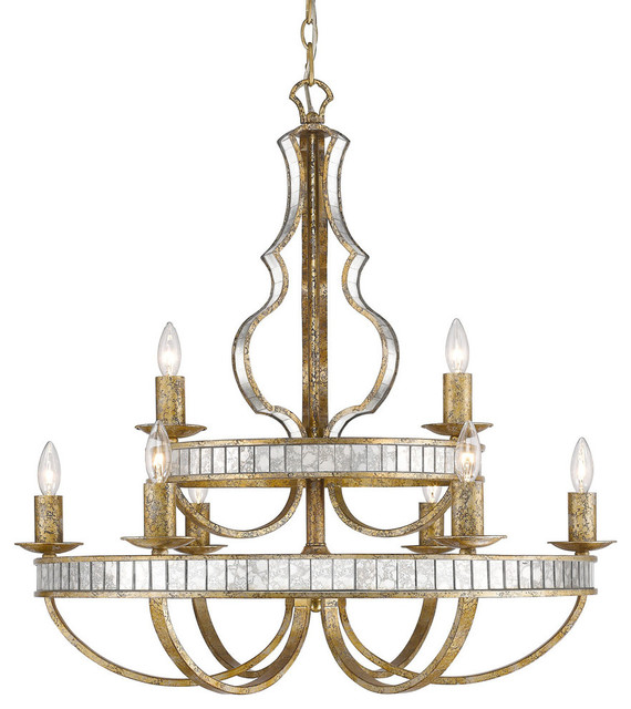 Hayworth 2 Tier 9 Light Chandelier In Luxe Gold With
