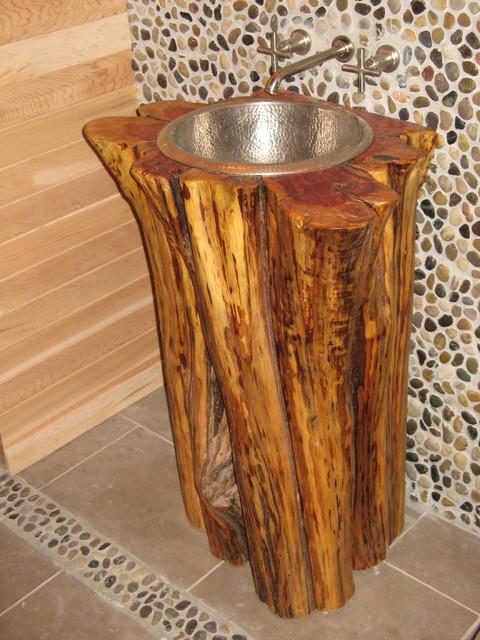 Rustic Lake House - Lake Level Bath Sink - Rustic - newark - by ...