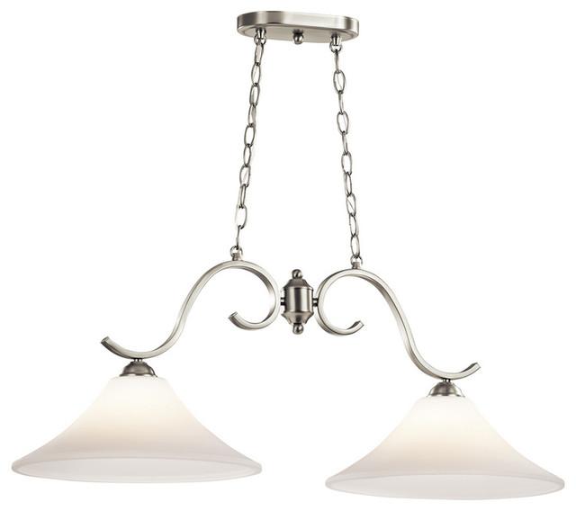 brushed nickel island chandelier 2 light modern