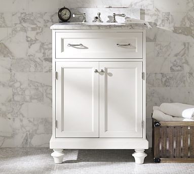 Modular Classic Single Mini Sink Console With Doors White With White Marble Traditional