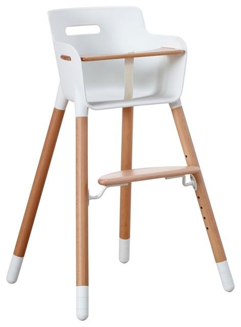 Flexa High Chair In White With Safety Bar Modern High