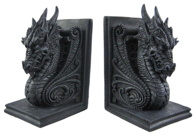 Gothic dragon bookends midieval book ends evil medieval traditional bookends by zeckos - Gothic bookends ...