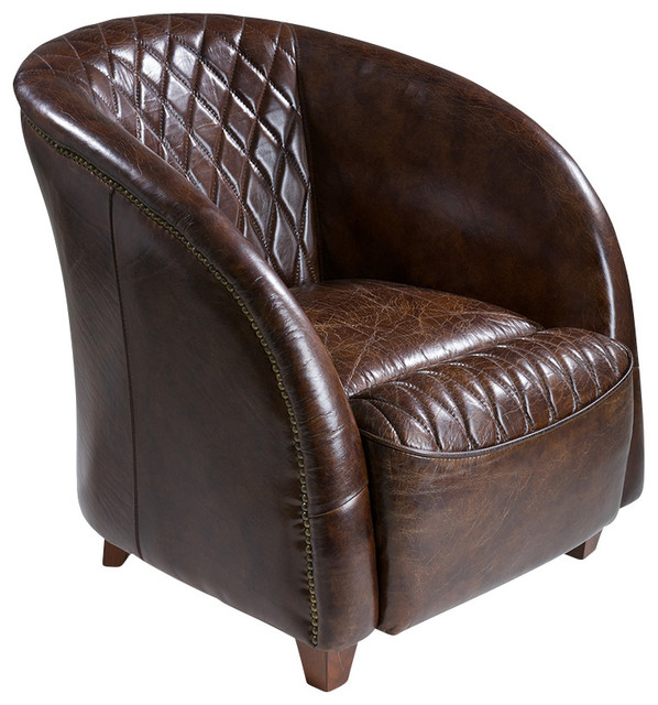 Michele Top Grain Leather Club Chair Brown Traditional