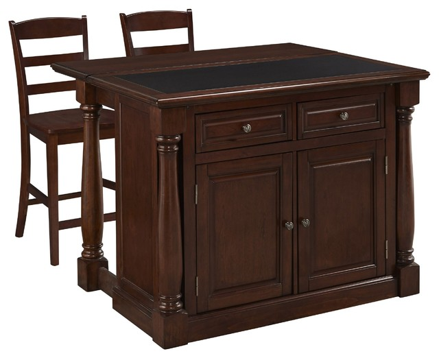 monarch cherry kitchen island and two stools traditional
