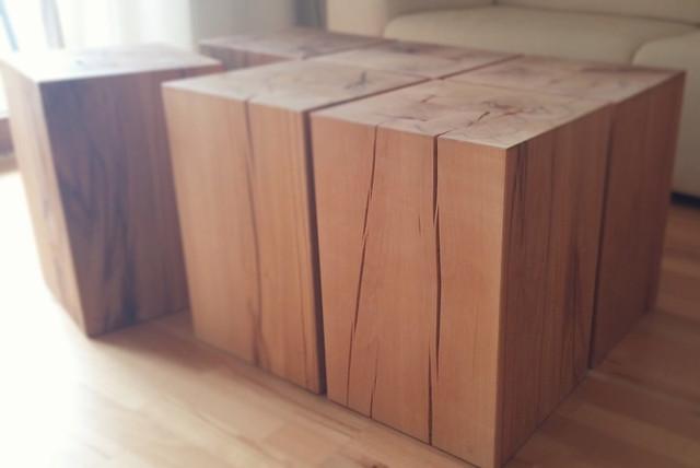 Massiver holzblock buche couchtisch rustikal for Couchtisch holzblock