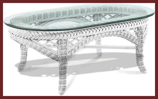 Lanai Oval Wicker Coffee Table with Glass Top ...