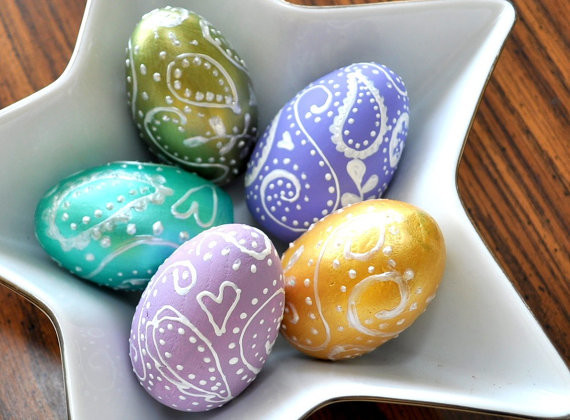Set of five paisley eggs unique easter home decor contemporary home