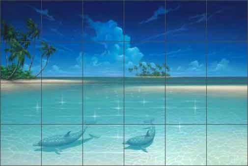Miller beach seascape dolphins ceramic tile mural beach for Dolphin tile mural