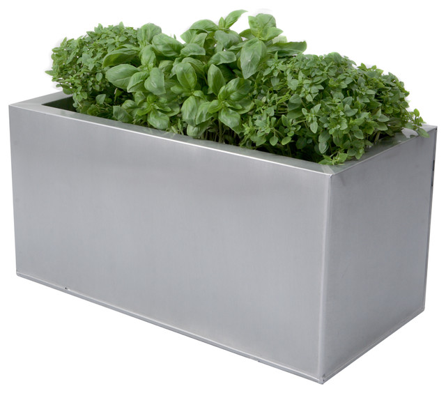 Zinc Kitchen Herb Planter Silver L50cm X H25cm