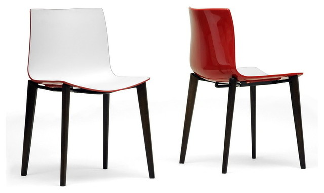 Soren White And Red Modern Dining Chairs Set Of 2 Contemporary Dining Ch