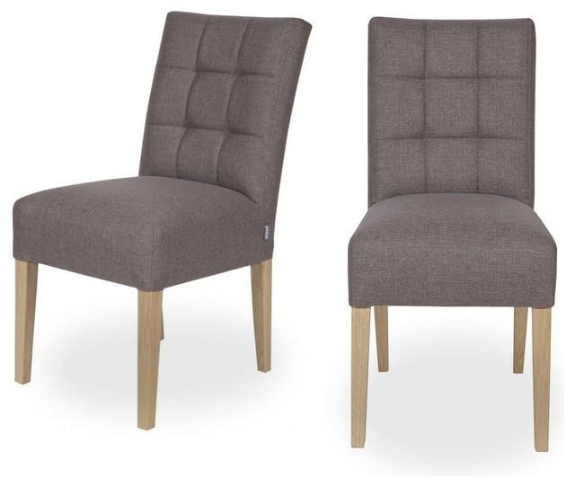 Lot de 2 chaises capitonn es pauwel couleur taupe for Chaise de salle a manger taupe