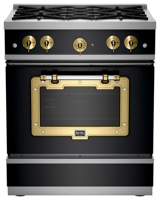 1900 Series Classic Stove, Matte Black With Brushed Brass Trim - Industrial - Gas Ranges And ...