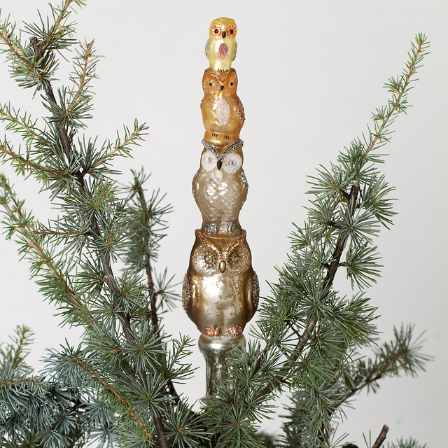 Glass owl tree topper contemporary christmas ornaments